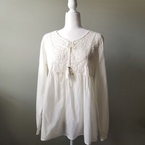 Tantrums Boho Tassel Lace Baby Doll Top Sz M